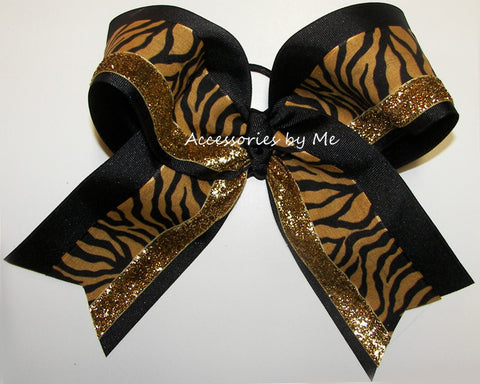 Tigers Gold Black Big Cheer Bow