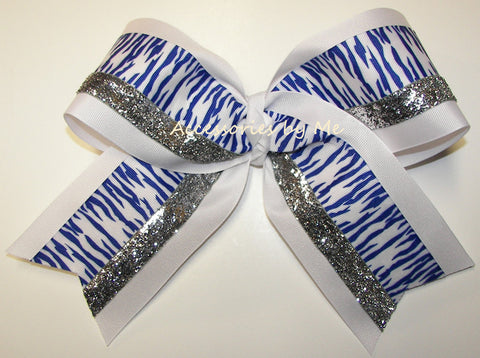 Tigers Blue White Silver Big Cheer Bow
