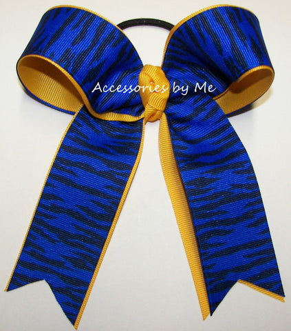 Wild Cats Royal Blue Yellow Gold Ponytail Bow