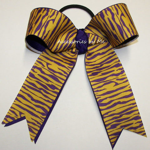 Tigers Purple Yellow Gold Ponytail Holder Bow