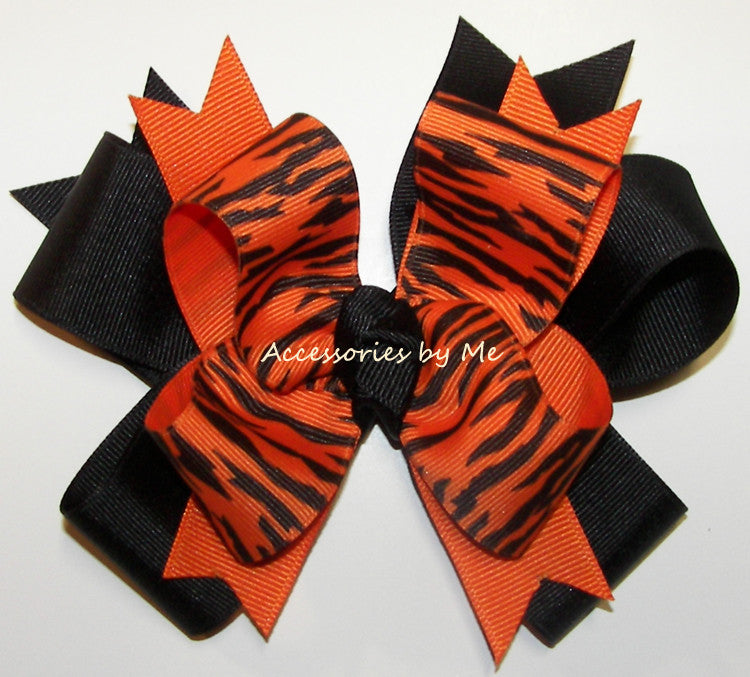 Tigers Orange Black Ponytail Cheer Bow