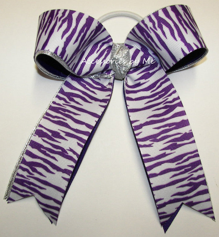 Purple Tigers Ponytail Cheer Bow