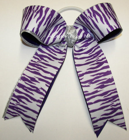Tigers Purple White Silver Ponytail Holder Bow
