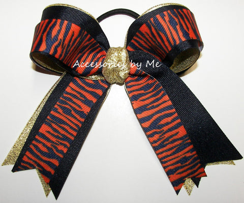 Tigers Orange Navy Blue Gold Ponytail Holder Bow FREE US Shipping