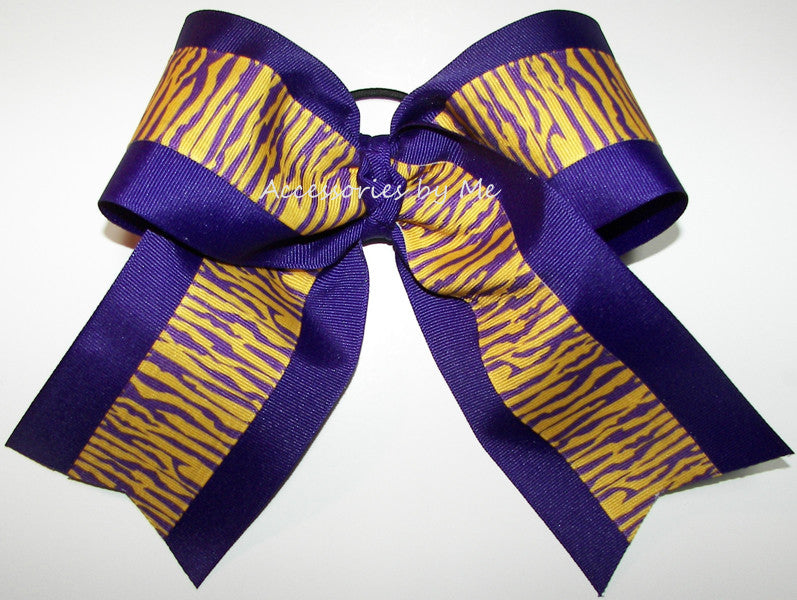 LSU Tigers Purple Yellow Gold Big Cheer Bow