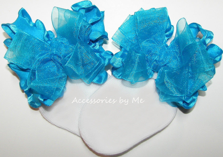 Frilly Turquoise Blue Organza Ruffle Bow Socks - Accessories by Me