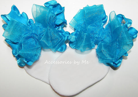 Turquoise Blue Organza Ruffle Bow Socks