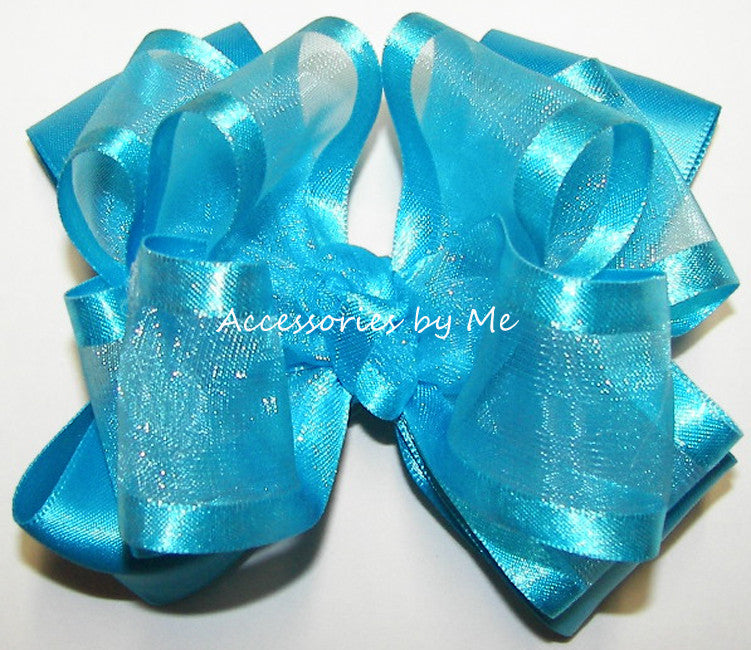 Fancy Turquoise Blue Organza Satin Trim Hair Bow - Accessories by Me