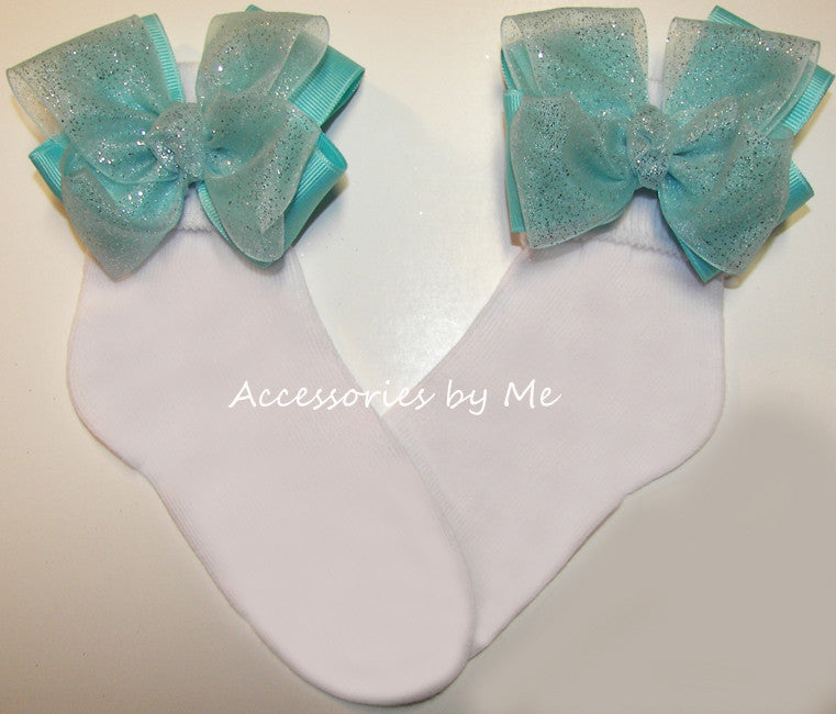 Glitzy Turquoise Organza Bow Socks - Accessories by Me