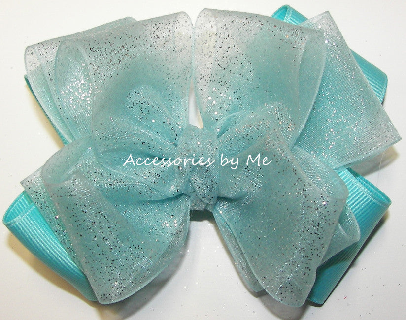 Glitzy Turquoise Organza Grosgrain Hair Bow - Accessories by Me