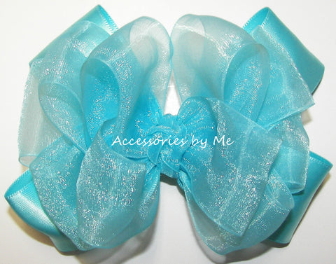 Fancy Turquoise Organza Satin Hair Bow