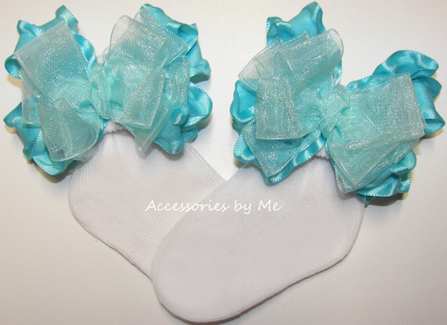 Frilly Turquoise Organza Ruffle Bow Socks - Accessories by Me