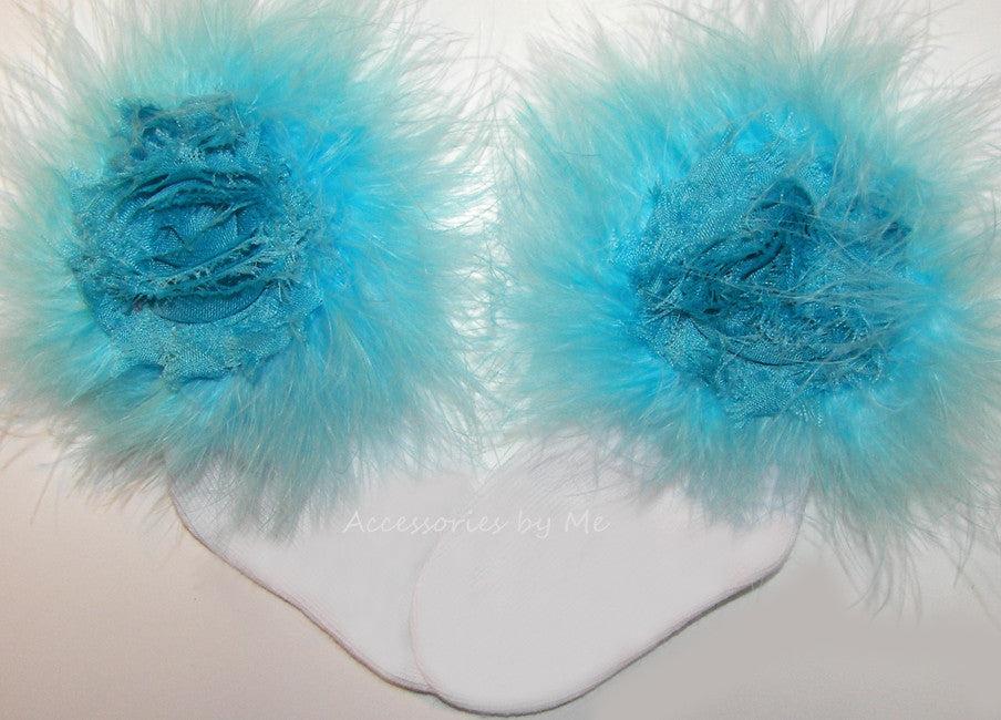 Turquoise Rose Marabou Feather Socks