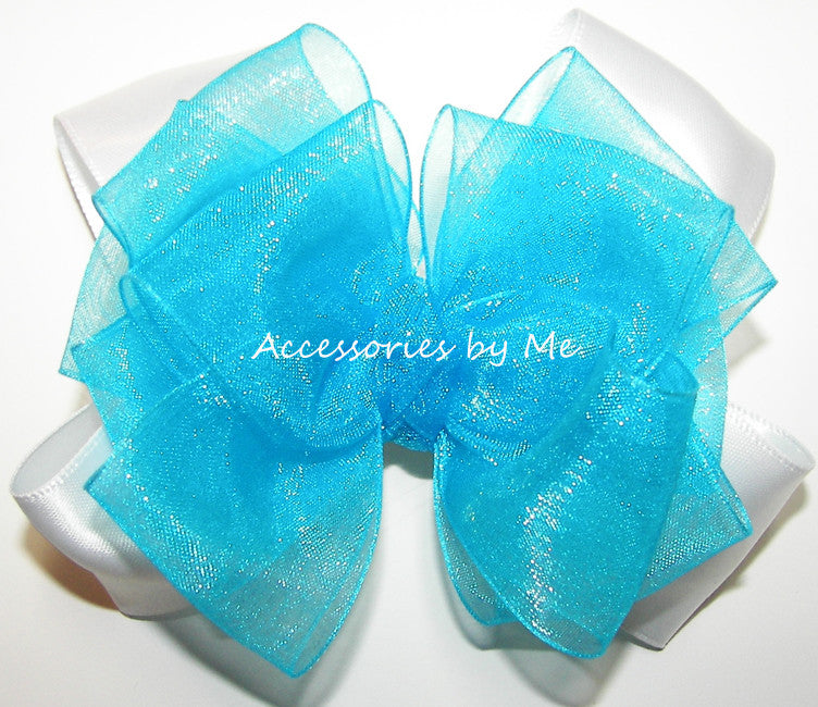 Fancy Turquoise White Organza Satin Hair Bow - Accessories by Me