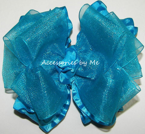 Frilly Turquoise Blue Organza Ruffle Hair Bow
