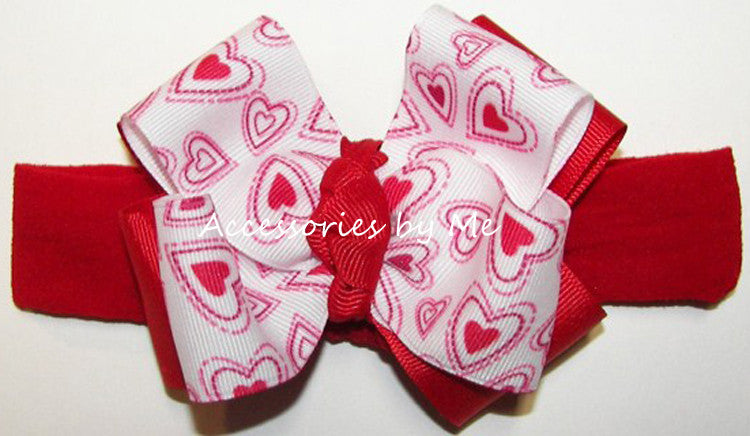Valentine's Day Red Hearts Bow Headband