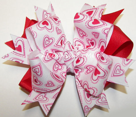 Valentine's Day Hot Pink White Hearts Hair Bow