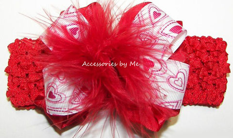 Valentine's Day Frilly Red Pink Hearts Marabou Bow Headband