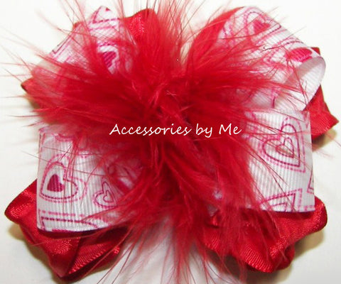 Valentine's Day Red Marabou Hair Bow