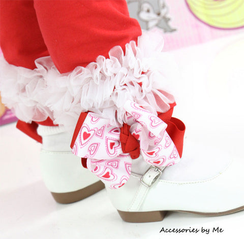 Valentine's Day Red White Hearts Bow Socks
