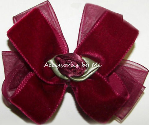 Velvet Organza Rose Small Hair Bow