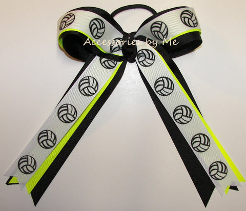 Volleyball Neon Yellow Black Ponytail Holder Bow
