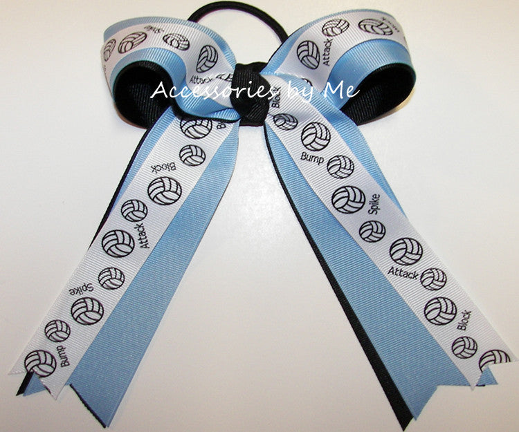 Volleyball Blue Black Ponytail Holder