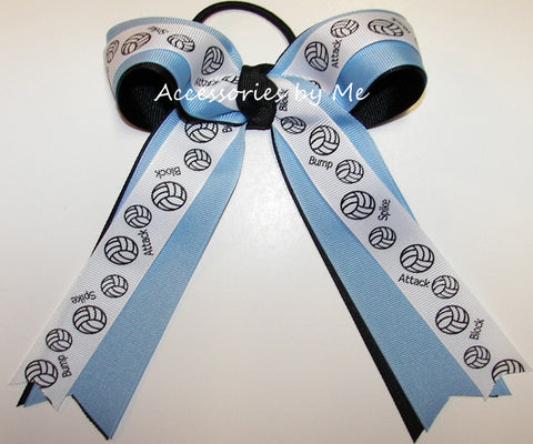 Volleyball Blue Black Ponytail Holder Bow