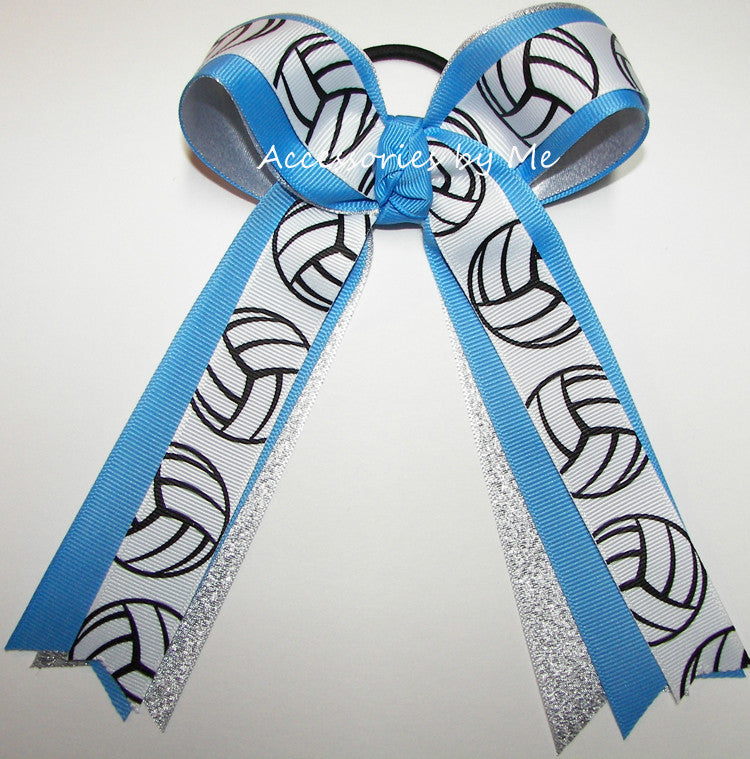 Volleyball Copen Blue Silver Ponytail Bow