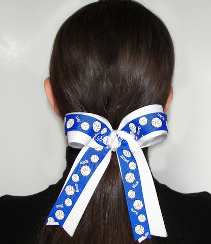 Volleyball Royal Blue White Silver Ponytail Bow