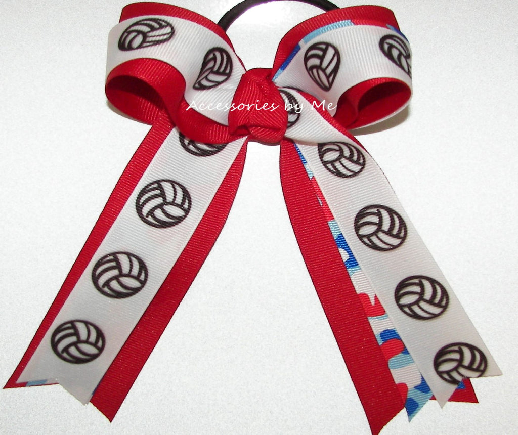 Volleyball Camo Red Ponytail Bow
