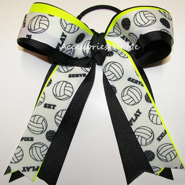 Volleyball Neon Yellow Black Ponytail Bow