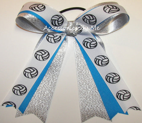 Volleyball Blue Silver Ponytail Holder Bow