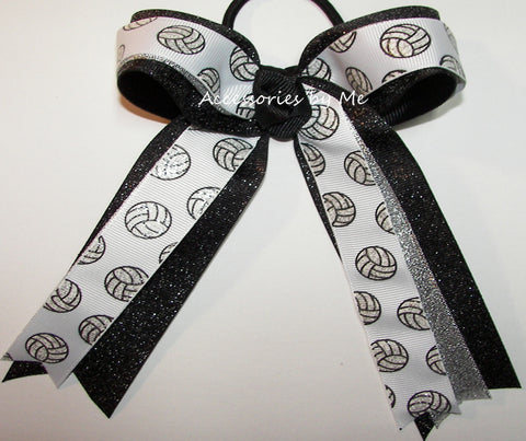 Volleyball Sparkly White Black Ponytail Hair Bow