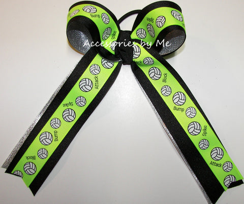 Volleyball Neon Green Black Silver Ponytail Bow