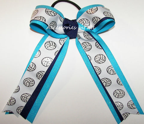 Volleyball Sparkly Turquoise Blue Ponytail Hair Bow