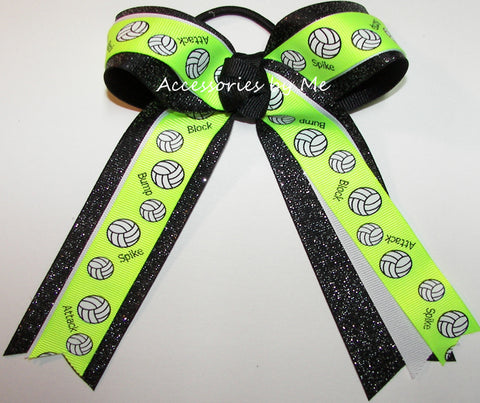 Volleyball Neon Lime Black Ponytail Hair Bow