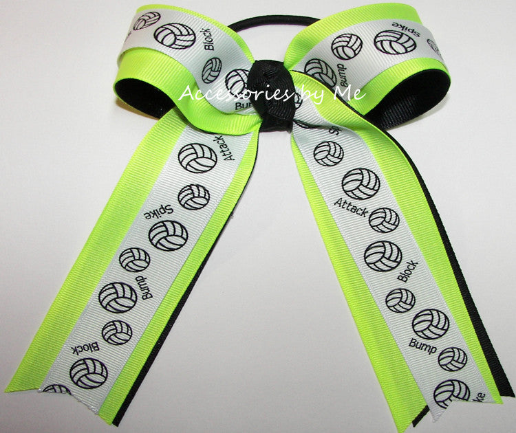 Volleyball Neon Lime Black Ponytail Holder Bow
