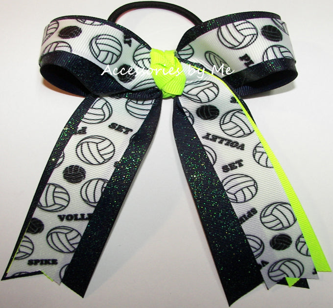 Volleyball Neon Lime Green Navy Blue Sparkly Bow
