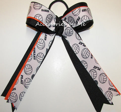 Volleyball Orange Black Ponytail Holder Bow