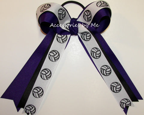 Volleyball Purple Black Ribbons Ponytail Holder Bow