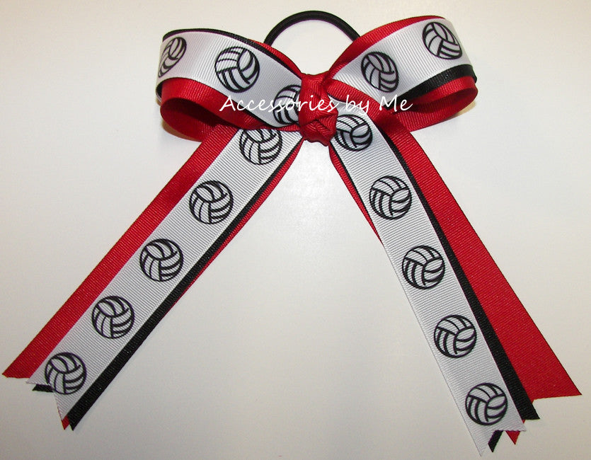 Volleyball Red Black Ponytail Holder Bow