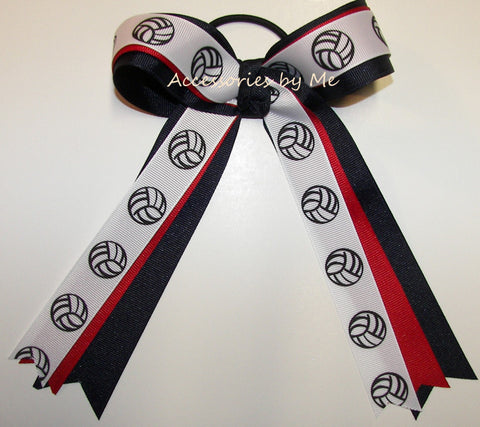 Volleyball Red Navy Blue Ponytail Holder Bow