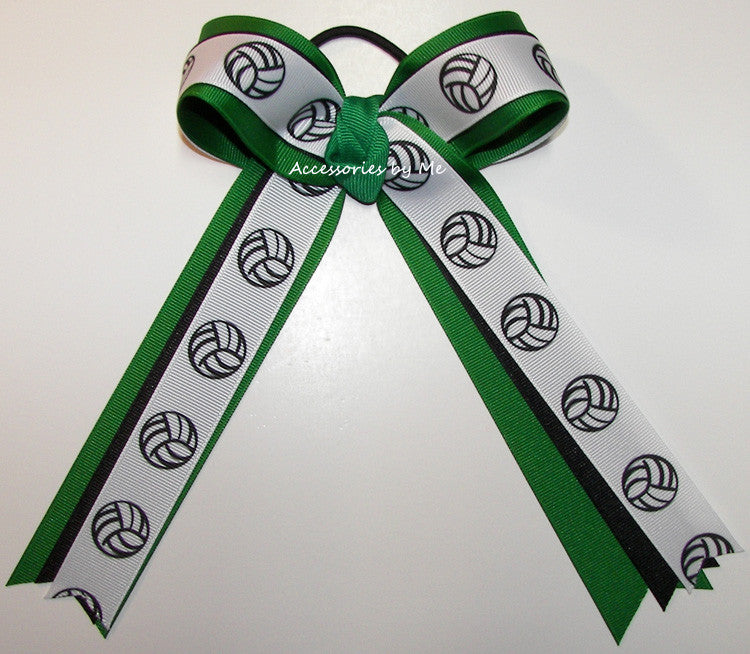 Volleyball Green Black Ribbons Ponytail Holder Bow