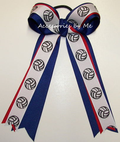 Volleyball Red Royal Blue Ponytail Holder Bow