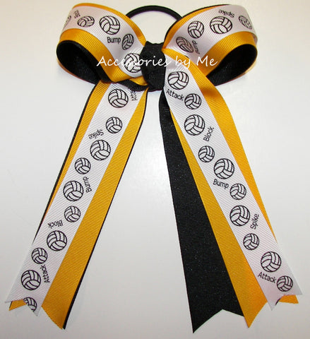 Volleyball Yellow Gold Black Ponytail Holder Bow