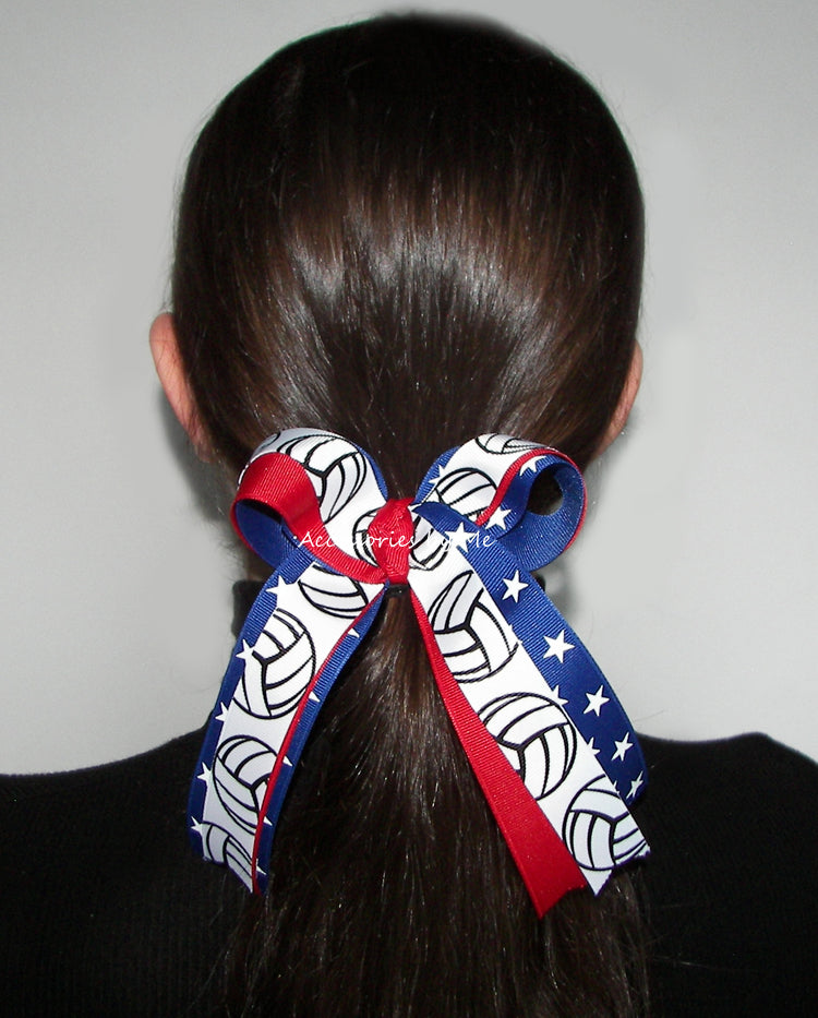 Volleyball Red White Blue USA Bow