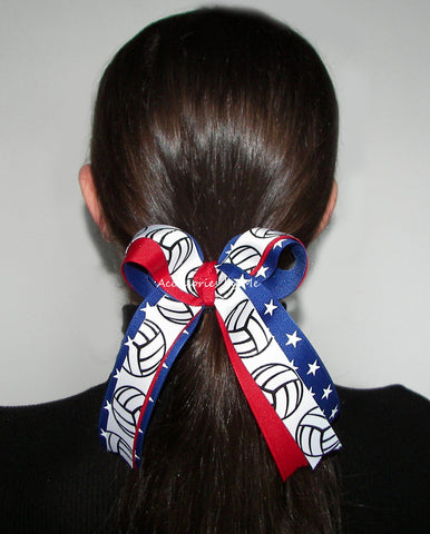 Volleyball US Patriotic Ponytail Bow