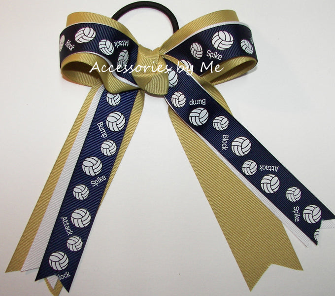 Volleyball Blue Gold Ponytail Holder Bow