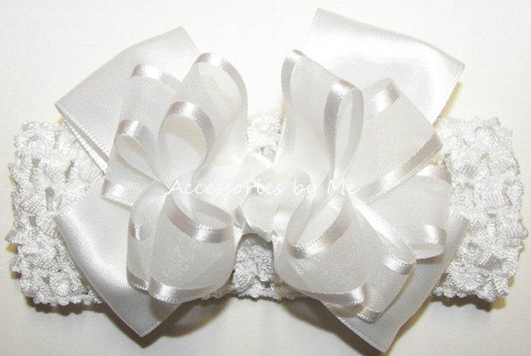 Baptism Frilly White Organza Satin Bow Headband - Accessories by Me